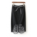 Women's Unique Distressed Ripped Hem Tied Front Plain Black Midi Shift Denim Skirt