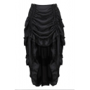 Women's Steampunk Gothic Corset Skirt Drawstring High Low Ruffled Vintage Victorian Costume Skirt