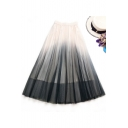 Summer Stylish Ombre Color Long A-Line Mesh Skirt with Lining