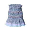 New Trendy Peplum Ruffled Waist Fashion Colorful Stripe Blue Mini Skirt