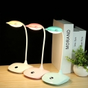 Eye Caring USB Desk Light Flexible Goose Neck 3 Lighting Mode White/Pink/Green LED Study Light with Touch Sensor