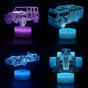 Remote Control 3D Illusion Light Off-Road Vehicle Touch Sensor 7 Colors Changing Nursery Nightlight for Bedroom