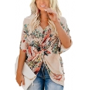 Fashion Batwing Sleeve Stylish Floral Printed Unique Twisted Front Top