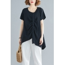 Women's Plus Size Basic Solid Color Drawstring Ruched Short Sleeve Linen T-Shirt