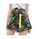 Summer Cool Army Green Camo Printed Ribbon Embellished Mini Asymmetrical Skirt A-Line Denim Skirt