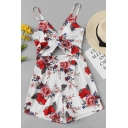 Summer Trendy Floral Printed Sexy Cutout Spaghetti Straps Holiday Rompers