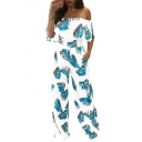 Summer Stylish Tropical Leaf Printed Off the Shoulder Wide Leg Jumpsuits for Women