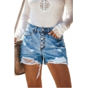 New Fashion Button Fly Womens Distressed Ripped Blue Denim Shorts