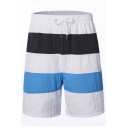 Guys Summer Trendy Colorblock Casual Loose Beach Swim Trunks with Lining