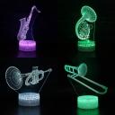 Touch Sensor LED Night Light 7 Color Sensor Musical Instrument Pattern 3D Optical Night Lamp for Bedroom Gift