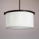 Fabric Drum Shade Ceiling Light Dinging Room Bedroom 1 Light Modern Hanging Light in White