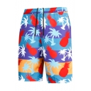 Mens Unique Fast Drying Pineapple Fruit Print Stretch Bathing Trunks with Mesh Lining Pockets
