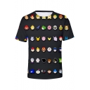 New Stylish Comic Character Printed Short Sleeve Round Neck Black T-Shirt