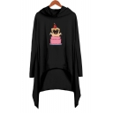 Lovely Cartoon Pug Dog Printed Long Sleeve Hooded Casual Loose Asymmetrical Dress
