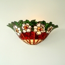Tiffany Style Flower Pattern Sconce Light 1 Light Stained Glass Sconce Lamp with Multi Color for Dining Room