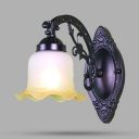 Antique Style Sconce Light with White Flower Shade 1/2 Lights Metal Frosted 1/2 Lights Metal Frosted Wall Light for Foyer