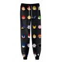 Trendy Allover Comic Character Printed Cotton Loose Black Jogger Sweatpants
