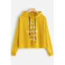 Trendy Letter I'LL BE THERE FOR YOU Long Sleeve Cropped Drawstring Hoodie
