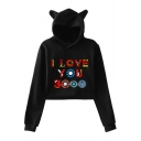 Cool Colorful Letter I Love You 3000 Long Sleeve Cute Cat Ear Design Cropped Hoodie