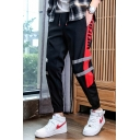 New Trend Stripe Side Letter Drawstring Waist Casual Track Pants for Mens
