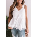 Women's Plus Size New Fashion V-Neck Lace Trim Casual Silk Cami Top