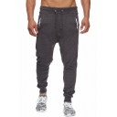 Men's Trendy Solid Color Drawstring Waist Casual Jogger Pants