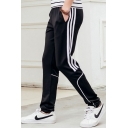Fashion Stripe Side Drawstring Waist Casual Sport Track Pants for Men
