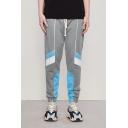 Men's New Stylish Colorblocked Drawstring Waist Straight-leg Grey Track Pants Trousers