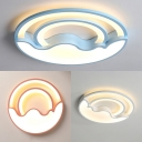 Boy Girl Bedroom Ceiling Light Warm Lighting/Stepless Dimming Acrylic Cute Round Shape White/Blue/Pink Flush Mount Light