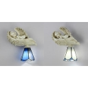 Stair Shop Cone Wall Sconce 1 Light White/Blue Glass and Resin Tiffany Wall Lamp with Angel Decoration