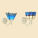 Mediterranean Style Craftsman/Dome Sconce Light 1 Light Stained Glass Wall Sconce for Bedroom Balcony
