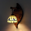 Tiffany Down Lighting Wall Lamp 1 Light Glass and Wood Hand Made Sconce Light for Bedroom