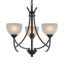 Glass Metal Bowl Shade Chandelier Dining Room Bedroom 3 Lights Traditional Ceiling Light in Black