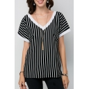 Fashion Black and White Striped Printed V Neck Short Sleeve Tee