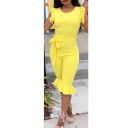 Womens Hot Fashion Solid Color Round Neck Sleeveless Ruffled Hem Tied Waist Slim Fit Jumpsuit