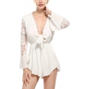 Women's Sexy Bow-Tied V Neck Lace Panel Flared Long Sleeve Simple Plain Romper