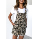Fashion Khaki Leopard Printed Bow-Tied Strap Button Front Casual Suspender Romper for Women