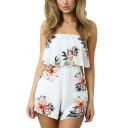 Womens Fashion Ruffled Strapless Floral Printed Casual Loose White Romper Playsuit