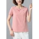 Women's Fashion Embroidered Round Neck Short Sleeve Cotton Button T-Shirt