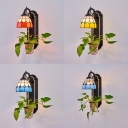Domed Hallway Wall Lamp Stained Glass 1 Light Tiffany Style Wall Sconce with Multi Color Choice