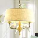 Drum Shape Ceiling Light Living Room 3 Lights Rustic Style Fabric Chandelier with Bird Decoration in Beige