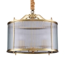 Antique Style Drum Shade Chandelier Metal and Fluted Glass Hanging Light for Bedroom Dining Room