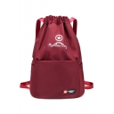 Simple Leisure Letter Printed Large Drawstring Outdoor Backpack