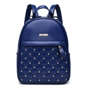 Trendy Plain Rivet Detail Small Leisure School Bag Backpack 22*13*28 CM