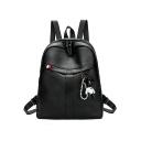 Trendy Plain Bear Decoration Anti-theft PU Leather Backpack 26*11*33 CM