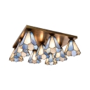 Cone Living Room Flush Ceiling Light Stained Glass 9 Lights Tiffany Style Ceiling Mount Light