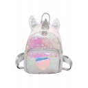 Cute Cartoon Heart Unicorn Shape White Sequined Backpack for Girls 24*11*29 CM
