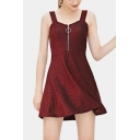 Women's Chic Burgundy Zipper Front Sleeveless Mini A-Line Cami Dress