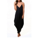 Women's Sexy Summer V-Neck Spaghetti Straps Plain Relaxed Beach Jumpsuits