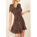 Summer Chic Khaki Leopard Printed Round Neck Short Sleeve Mini A-Line Dress